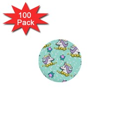 Magical Happy Unicorn And Stars 1  Mini Buttons (100 Pack)