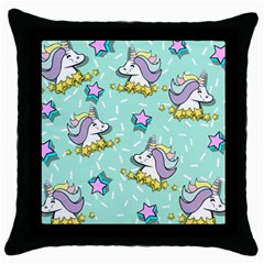 Magical Happy Unicorn And Stars Throw Pillow Case (black)