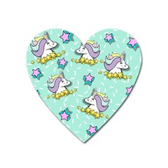 Magical Happy Unicorn And Stars Heart Magnet