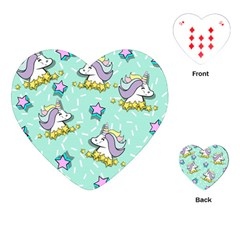 Magical Happy Unicorn And Stars Playing Cards (heart)