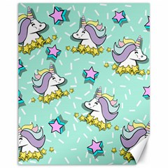 Magical Happy Unicorn And Stars Canvas 11  X 14