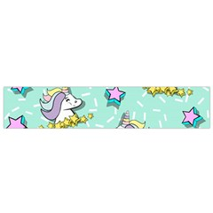 Magical Happy Unicorn And Stars Small Flano Scarf