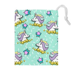 Magical Happy Unicorn And Stars Drawstring Pouches (extra Large)