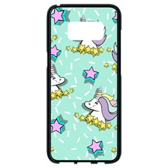 Magical Happy Unicorn And Stars Samsung Galaxy S8 Black Seamless Case