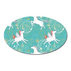 Magical Flying Unicorn Pattern Oval Magnet