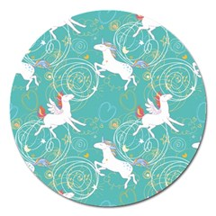 Magical Flying Unicorn Pattern Magnet 5  (round)