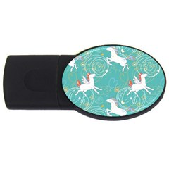 Magical Flying Unicorn Pattern Usb Flash Drive Oval (2 Gb)