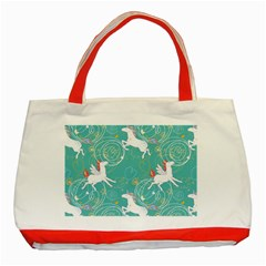 Magical Flying Unicorn Pattern Classic Tote Bag (red)