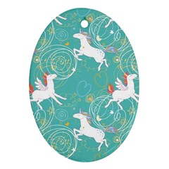 Magical Flying Unicorn Pattern Oval Ornament (two Sides)