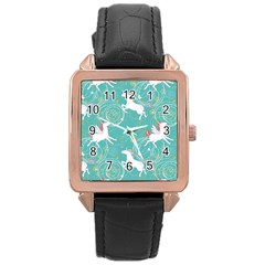 Magical Flying Unicorn Pattern Rose Gold Leather Watch