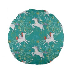 Magical Flying Unicorn Pattern Standard 15  Premium Flano Round Cushions