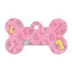 Unicorns Eating Ice Cream Pattern Dog Tag Bone (two Sides)