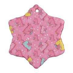 Unicorns Eating Ice Cream Pattern Snowflake Ornament (two Sides)