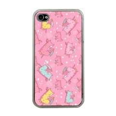 Unicorns Eating Ice Cream Pattern Apple Iphone 4 Case (clear)