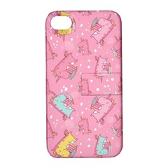Unicorns Eating Ice Cream Pattern Apple Iphone 4/4s Hardshell Case With Stand