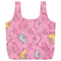 Unicorns Eating Ice Cream Pattern Full Print Recycle Bags (l)