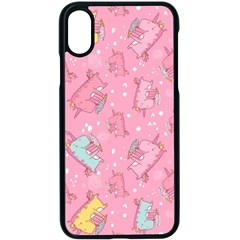 Unicorns Eating Ice Cream Pattern Apple Iphone X Seamless Case (black)