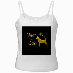 Year Of The Dog   Chinese New Year White Spaghetti Tank