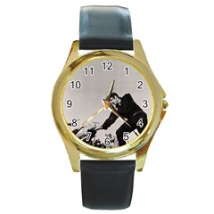 Elvis Presley Round Gold Metal Watch
