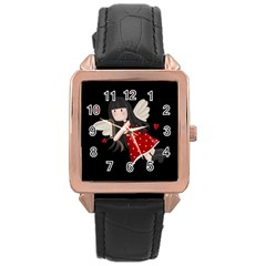 Cupid Girl Rose Gold Leather Watch