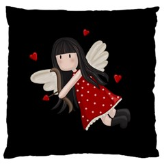 Cupid Girl Large Flano Cushion Case (two Sides)