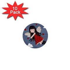 Cupid Girl 1  Mini Buttons (10 Pack)