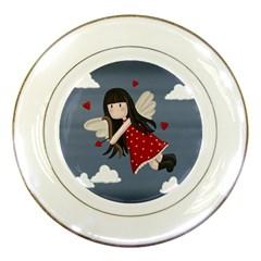 Cupid Girl Porcelain Plates