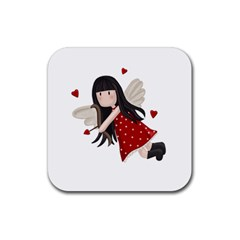 Cupid Girl Rubber Square Coaster (4 Pack)