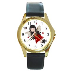Cupid Girl Round Gold Metal Watch
