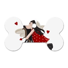 Cupid Girl Dog Tag Bone (two Sides)