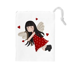Cupid Girl Drawstring Pouches (large)