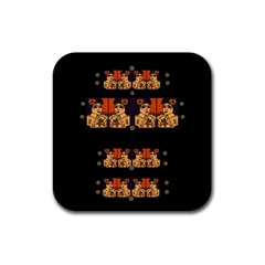 Geisha With Friends In Lotus Garden Having A Calm Evening Rubber Square Coaster (4 Pack)