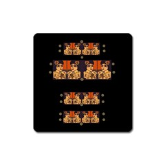 Geisha With Friends In Lotus Garden Having A Calm Evening Square Magnet