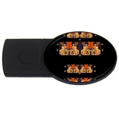 Geisha With Friends In Lotus Garden Having A Calm Evening Usb Flash Drive Oval (4 Gb)