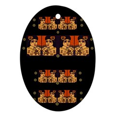 Geisha With Friends In Lotus Garden Having A Calm Evening Oval Ornament (two Sides)