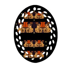 Geisha With Friends In Lotus Garden Having A Calm Evening Oval Filigree Ornament (two Sides)