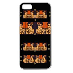 Geisha With Friends In Lotus Garden Having A Calm Evening Apple Seamless Iphone 5 Case (clear)