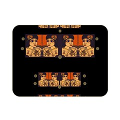 Geisha With Friends In Lotus Garden Having A Calm Evening Double Sided Flano Blanket (mini)