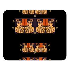 Geisha With Friends In Lotus Garden Having A Calm Evening Double Sided Flano Blanket (large)