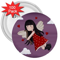 Cupid Girl 3  Buttons (100 Pack)