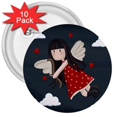 Cupid Girl 3  Buttons (10 Pack)
