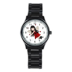 Cupid Girl Stainless Steel Round Watch