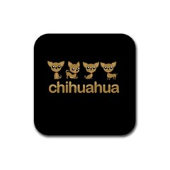 Chihuahua Rubber Square Coaster (4 Pack)