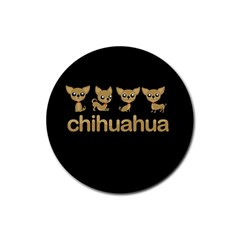 Chihuahua Rubber Round Coaster (4 Pack)