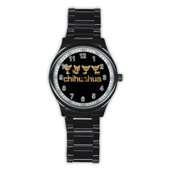 Chihuahua Stainless Steel Round Watch