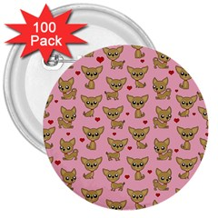 Chihuahua Pattern 3  Buttons (100 Pack)