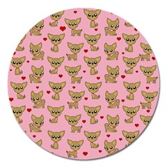 Chihuahua Pattern Magnet 5  (round)