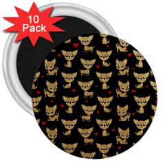 Chihuahua Pattern 3  Magnets (10 Pack)