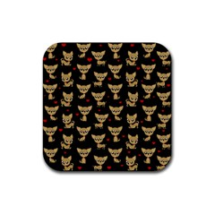 Chihuahua Pattern Rubber Square Coaster (4 Pack)