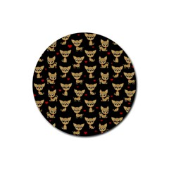 Chihuahua Pattern Rubber Coaster (round)
